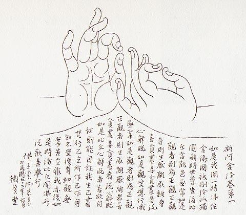 仿阿疆塔石窟佛像之「说法印」白描及 杂阿含>经抄  / 奚淞